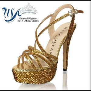 Shoes - Gold Rhinestone Marc Defang Tippy Top Shoes